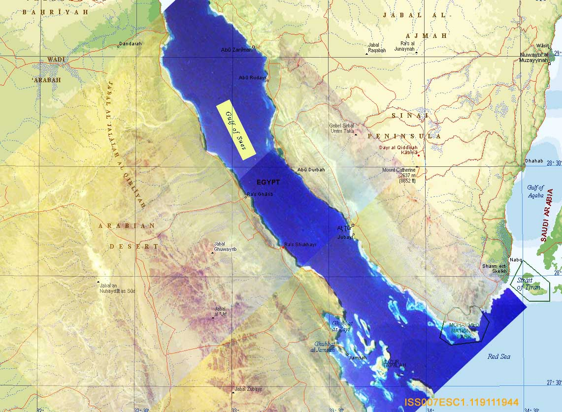 Sally Ride EarthKAM Composite Image Gulf Of Suez Egypt And - Map of egypt and saudi arabia