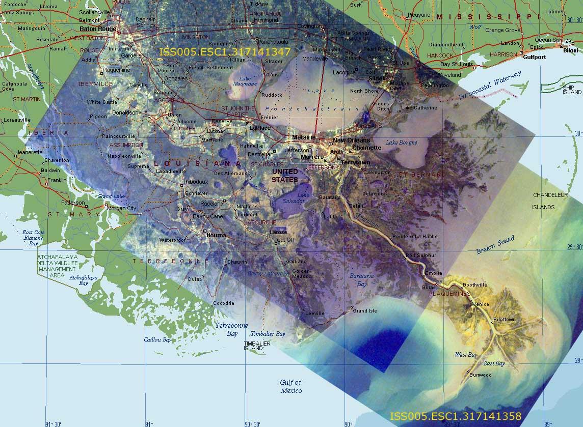 Sally Ride EarthKAM Composite Image Mississippi River Delta - Mississippi river delta map