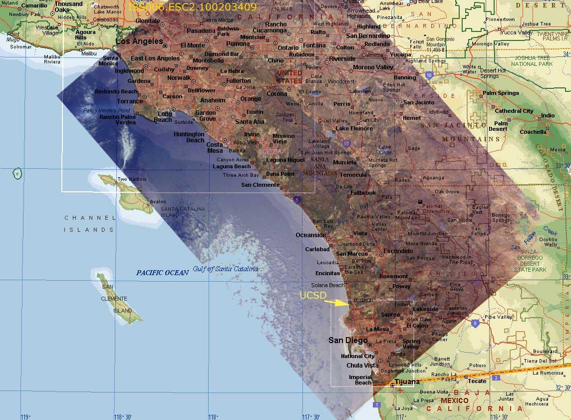 Sally Ride EarthKAM  Composite Image Los Angeles and San Diego USA