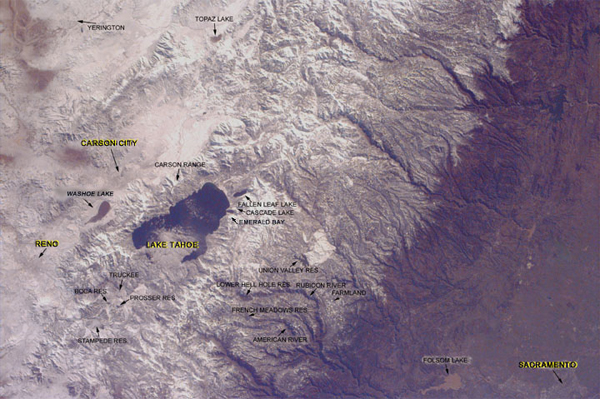 Sally Ride EarthKAM Investigating The Sierra Nevada Mountains And - Map of reno and lake tahoe